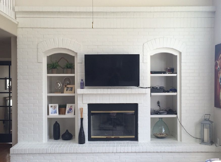 After - White Painted Brick Fireplace