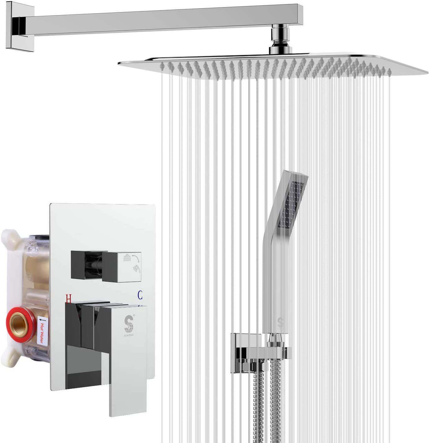 SR SUN RISE 10 Inches Bathroom Luxury Rain Mixer Shower Combo Set