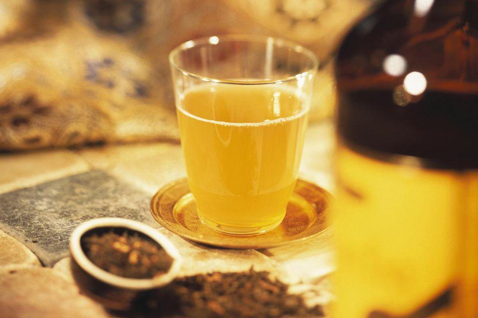 A glass of home-made kombucha tea