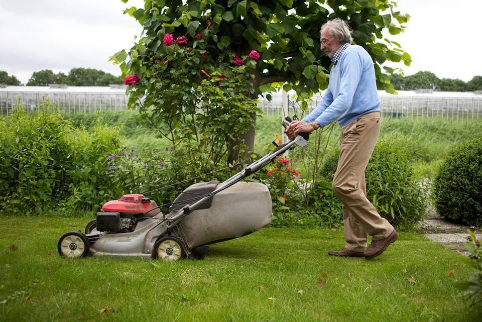 Older man lawn-mowing his garden
