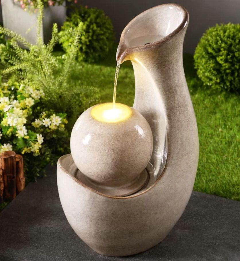 Cream Marta Ceramic Fountain with Light