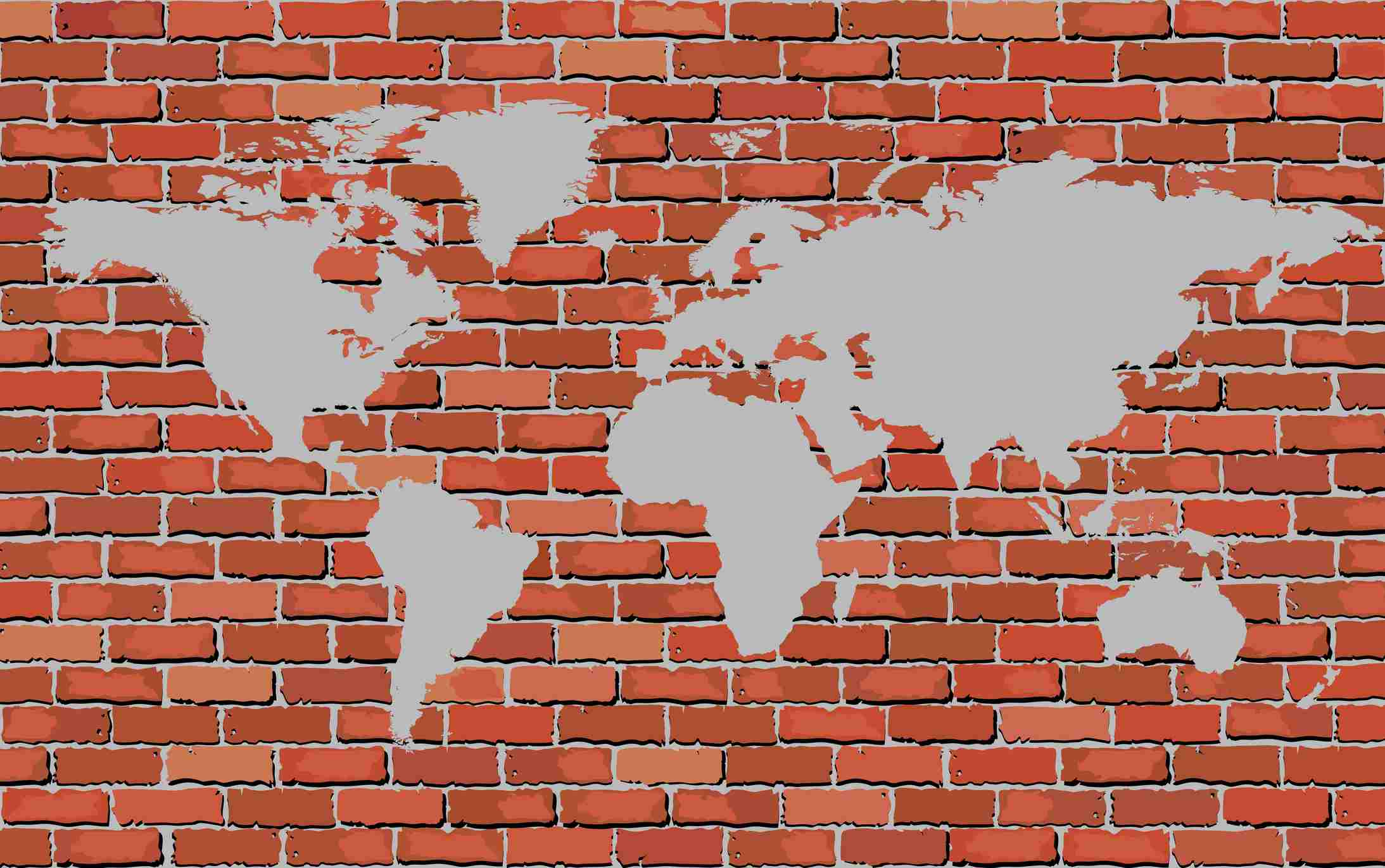 A brick wall with a map of the world