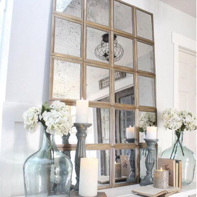 A DIY window pane mirror made from a dollar store mirror