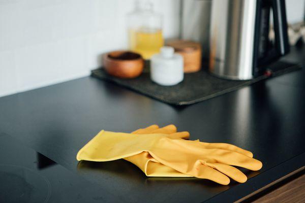 Plastic Gloves On The Kitchen Worktop