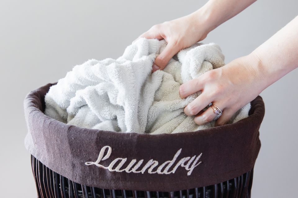 hamper of laundry