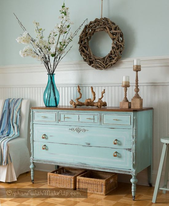 vintage dresser upcycled with beachy blue paint