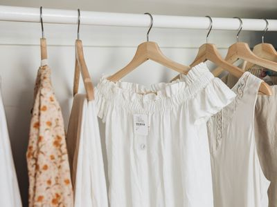 new clothes hanging on a rack