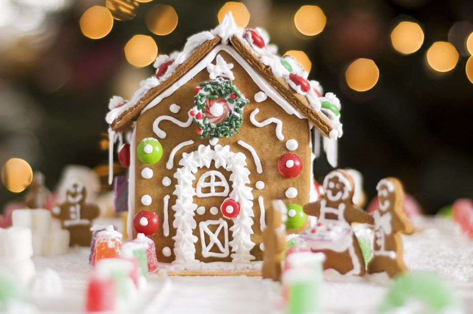 Delicious gingerbread house decorated with candies