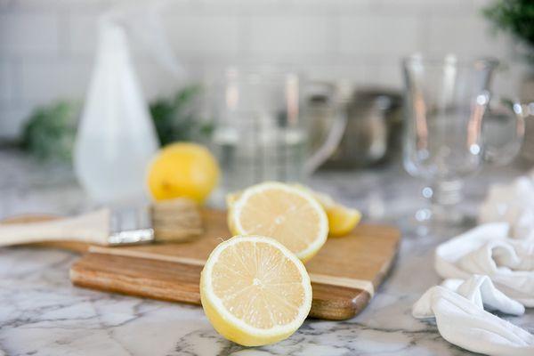 sliced lemons for cleaning