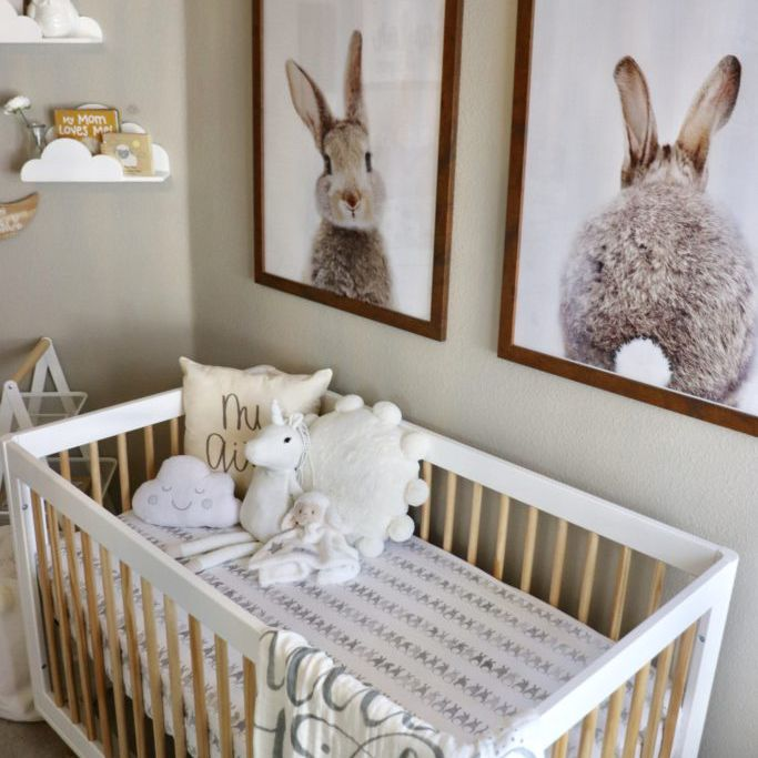 Oversized wall prints in sweet bunny-themed nursery