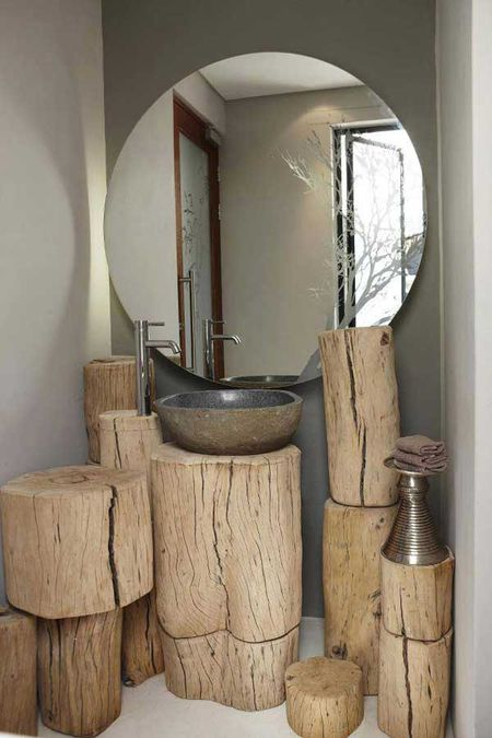 Bathroom With Wood Stump Vanity Space. diy bathroom