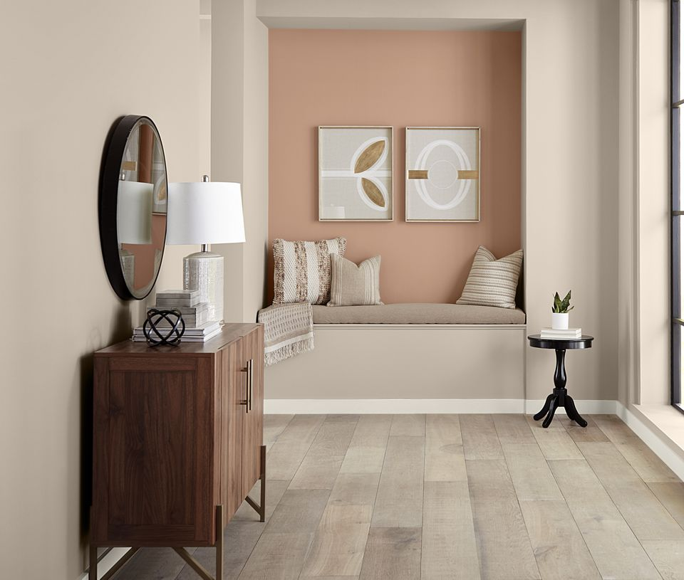 Behr's 2021 Color of the Year Canyon Dusk on the wall of a hallway nook