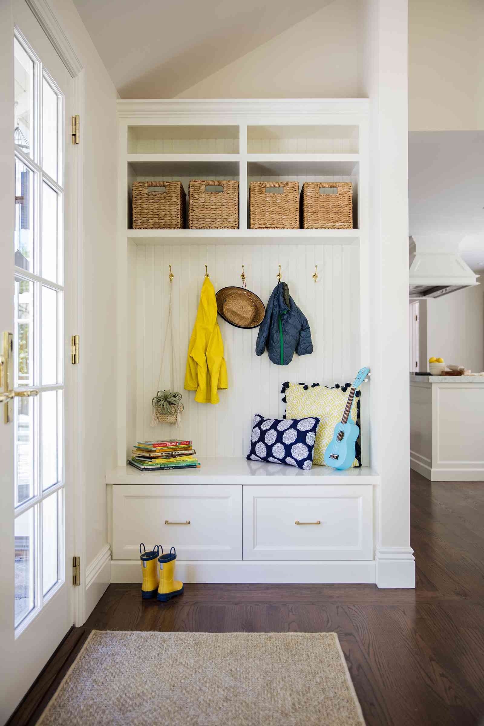 compact mudroom bench with storage