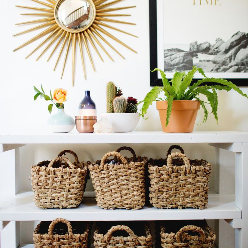 Baskets in an entryway