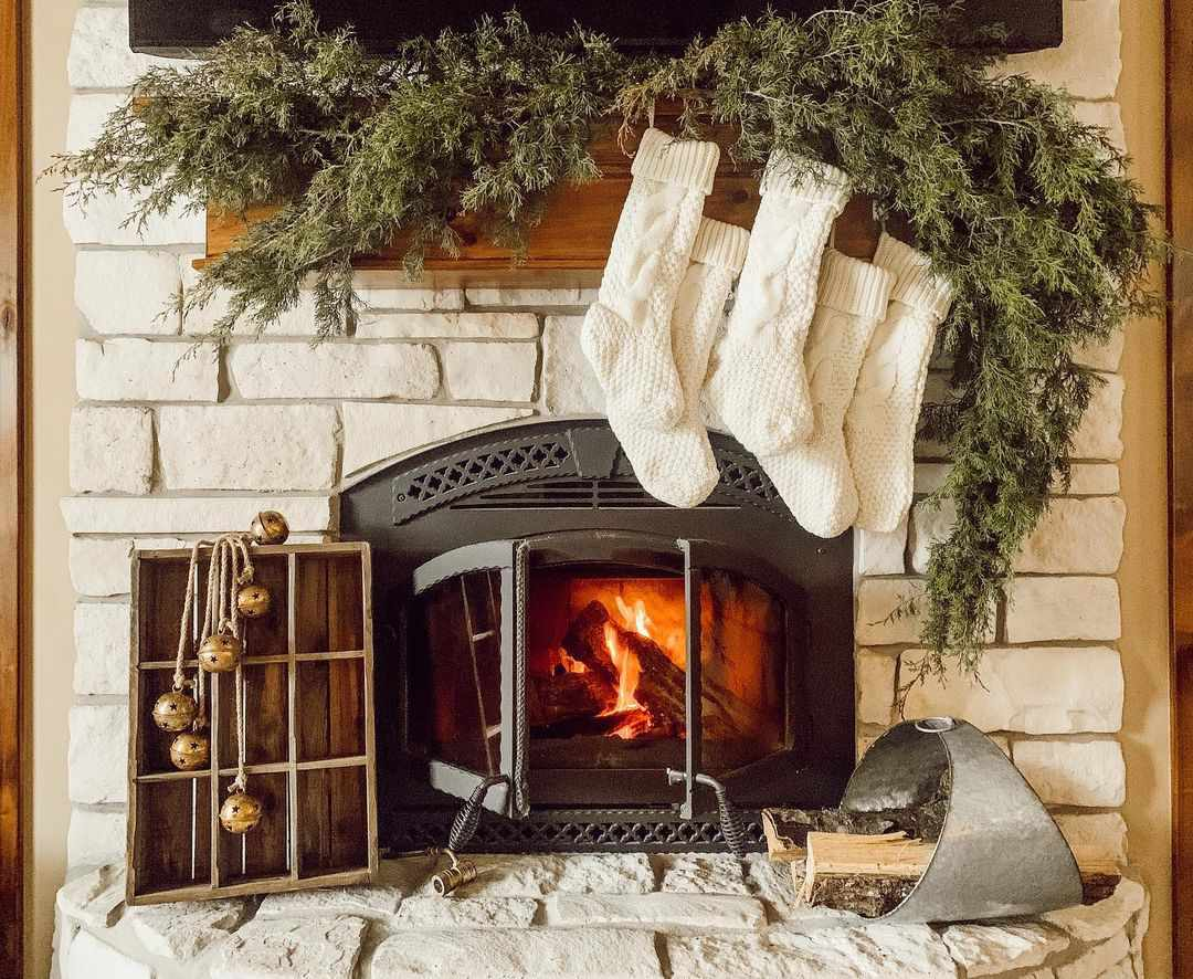 Fireplace with white stockings