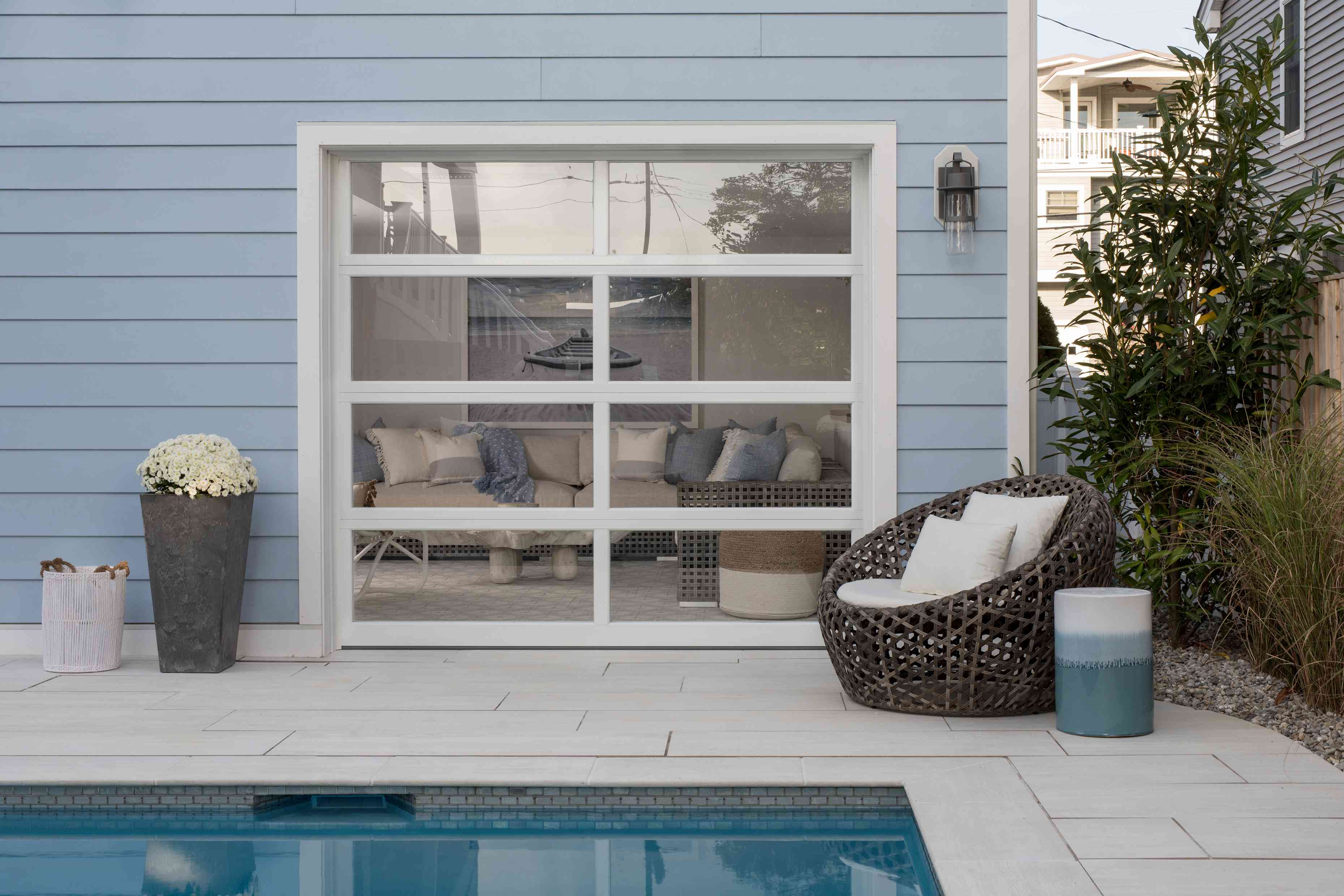 The lanai leads to a pool at the Long Beach Island home of Karen B. Wolfe