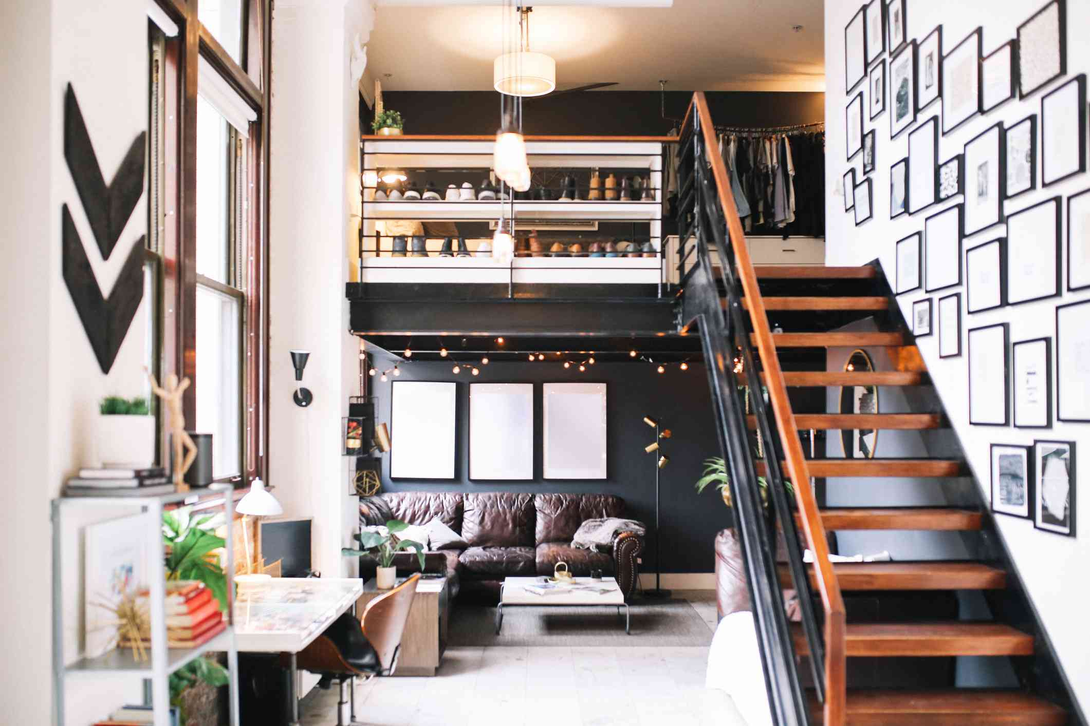 apartment loft with a dark accent wall