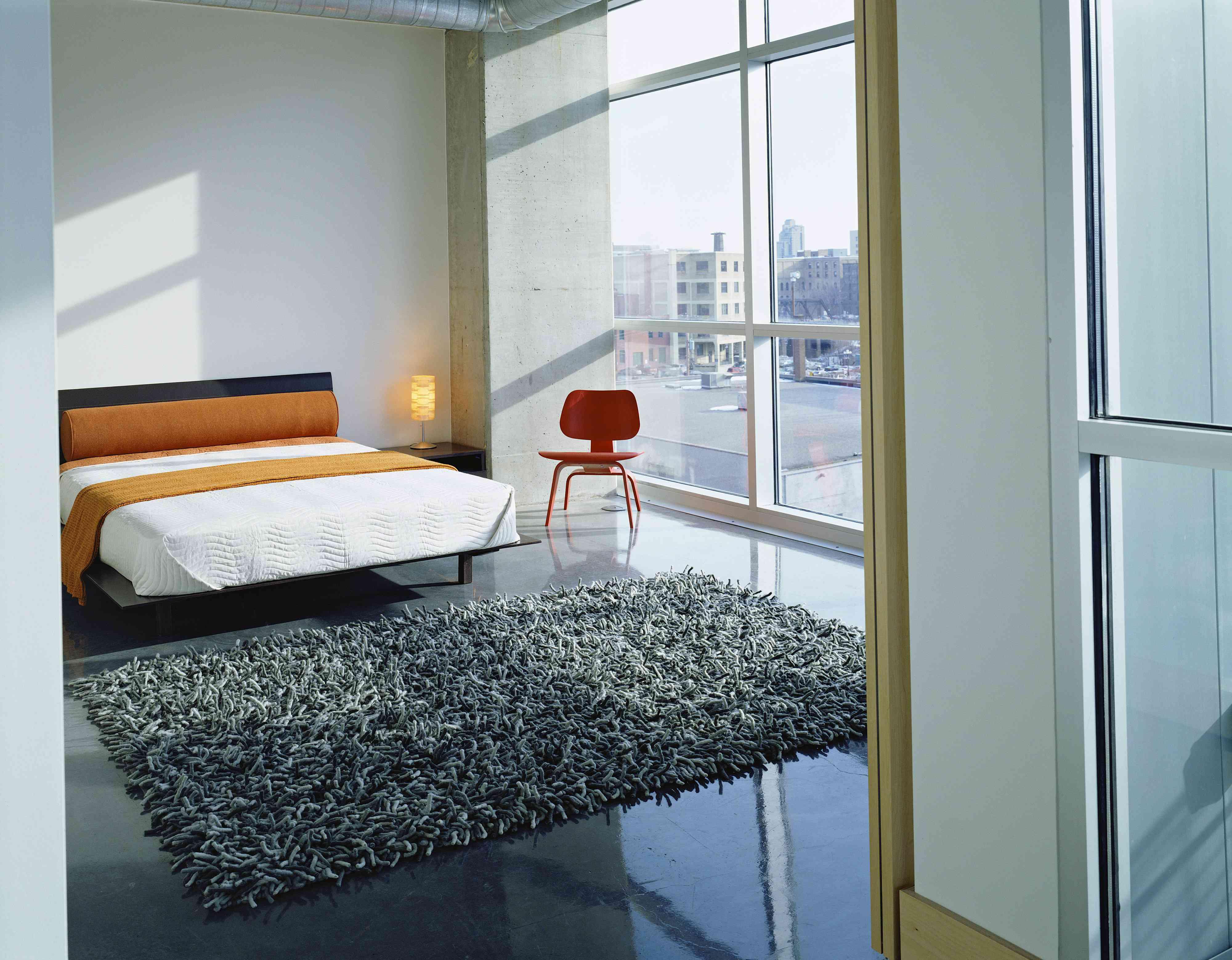 Gray shag area rug in contemporary urban bedroom