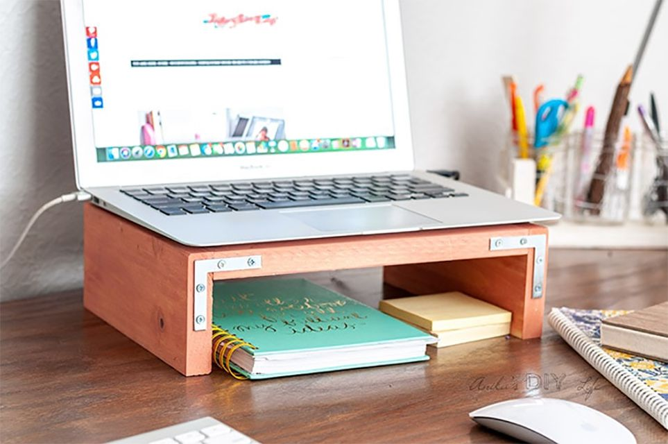 A laptop stand on a desk