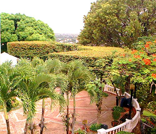 In this picture, the curving fence is a perfect match for the circular courtyard.