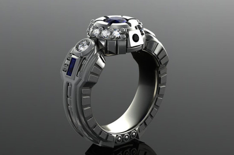 DeMer Jewelry oro gris de 14k, diamante y anillo de zafiro