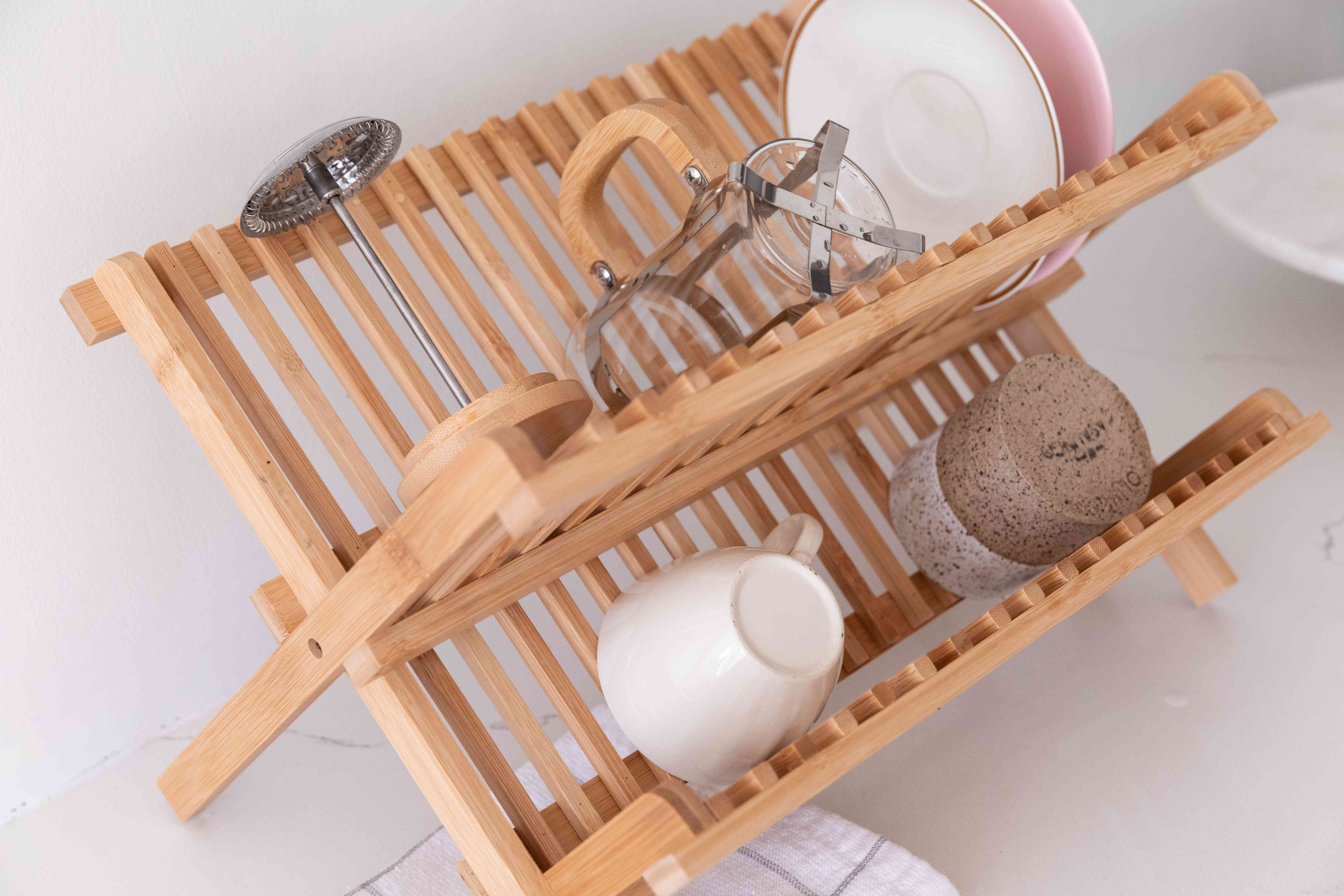 French press in a drying rack