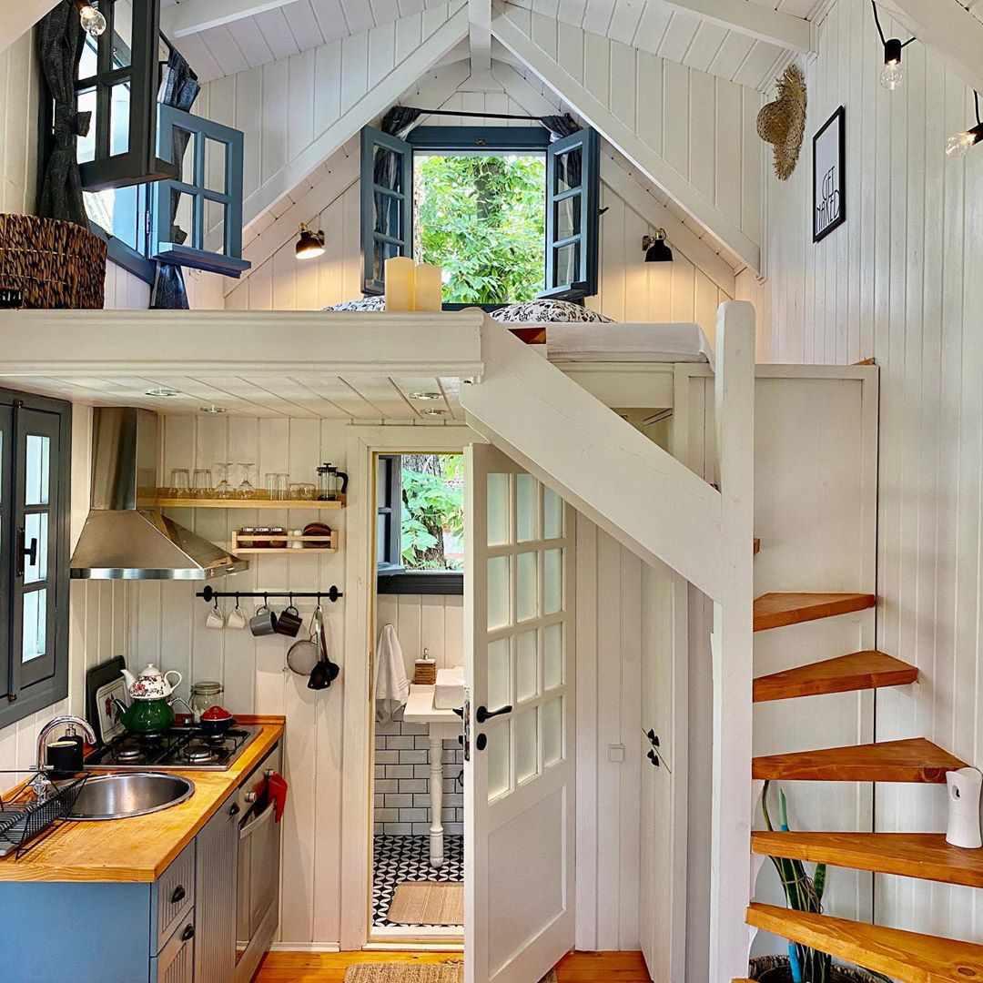 Tiny house with white interior