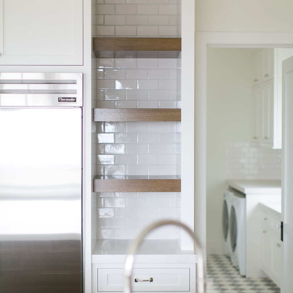narrow wall niche in traditional kitchen