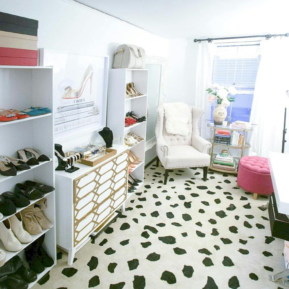 Organized bedroom with shoes
