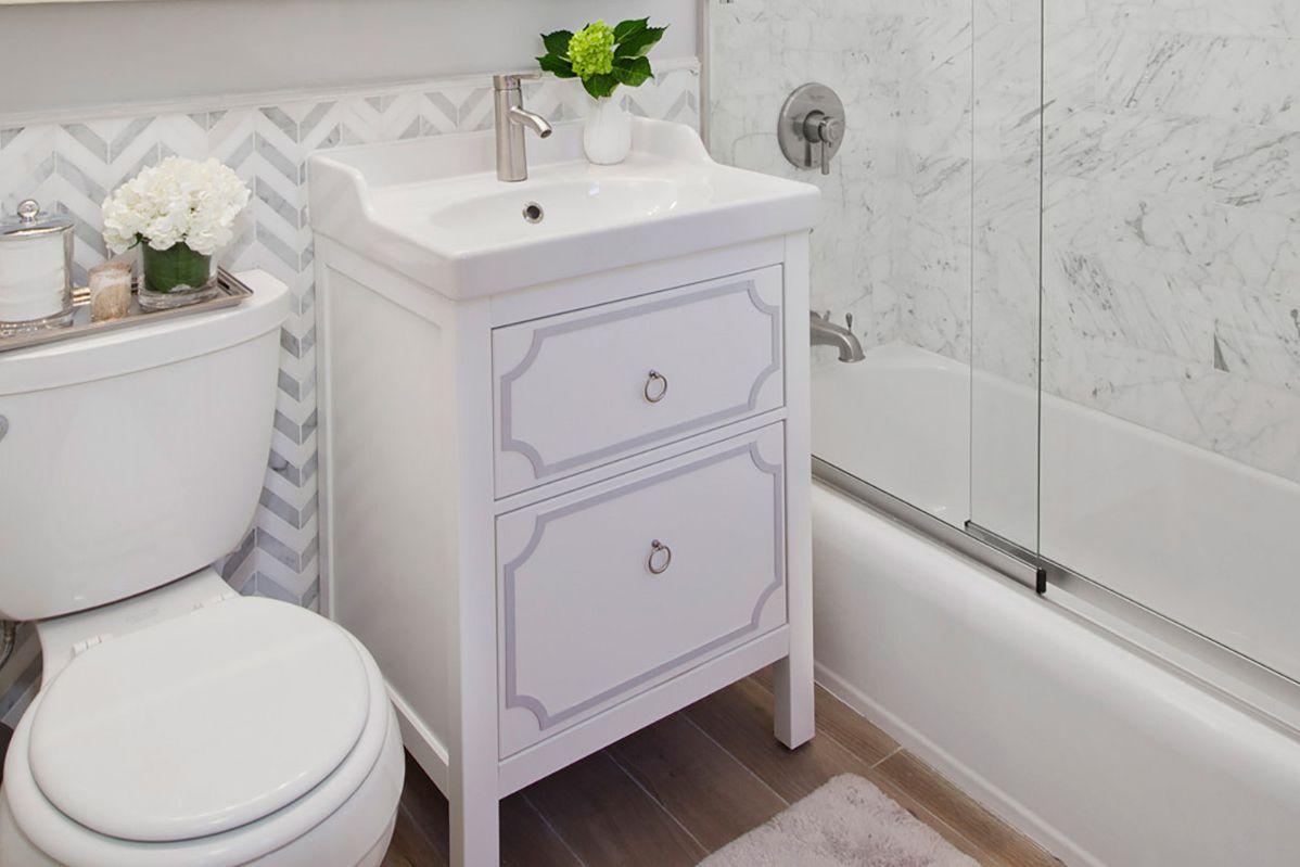 overlay on Ikea bathroom vanity