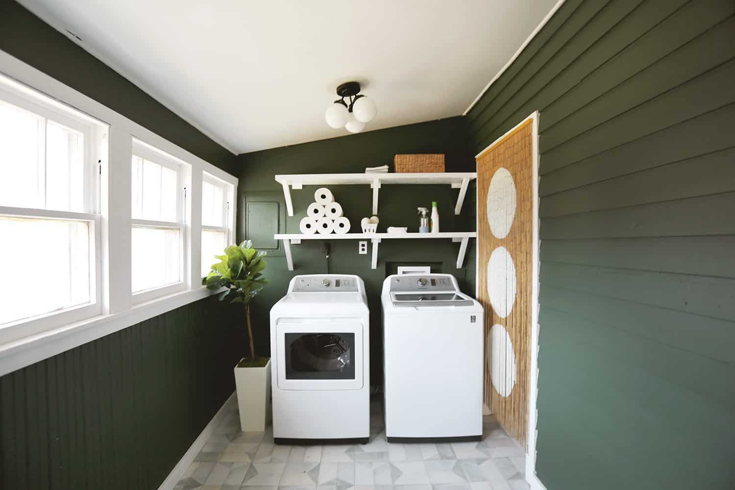 Forest green laundry room makeover.