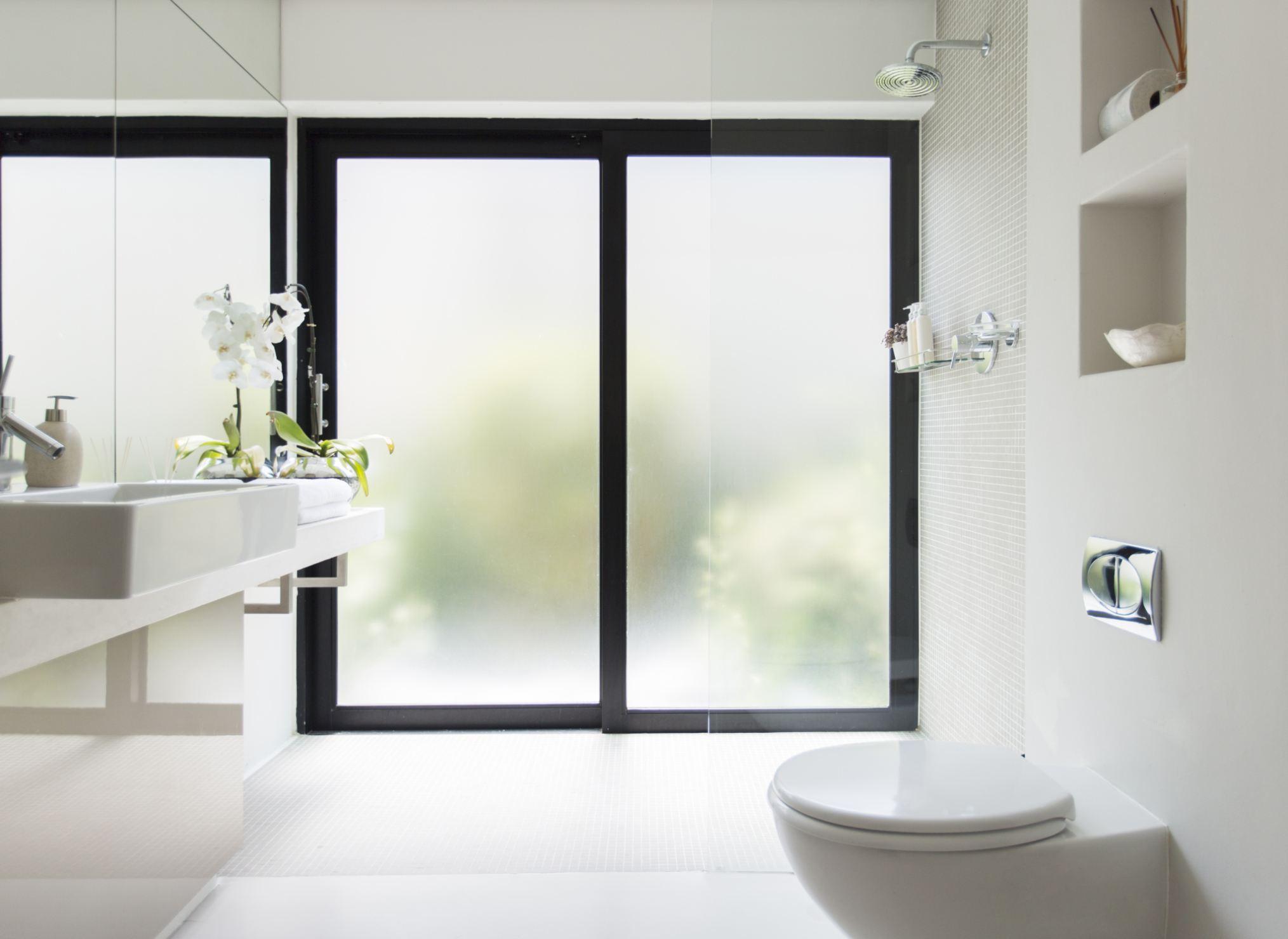 tankless toilet in modern bathroom