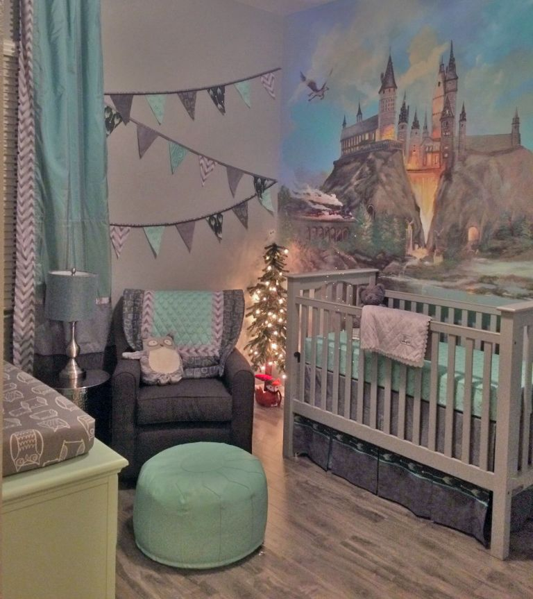 Harry Potter themed nursery with mural