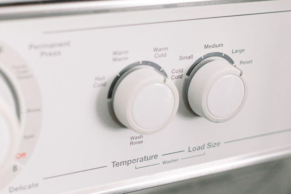 closeup of washing machine dials