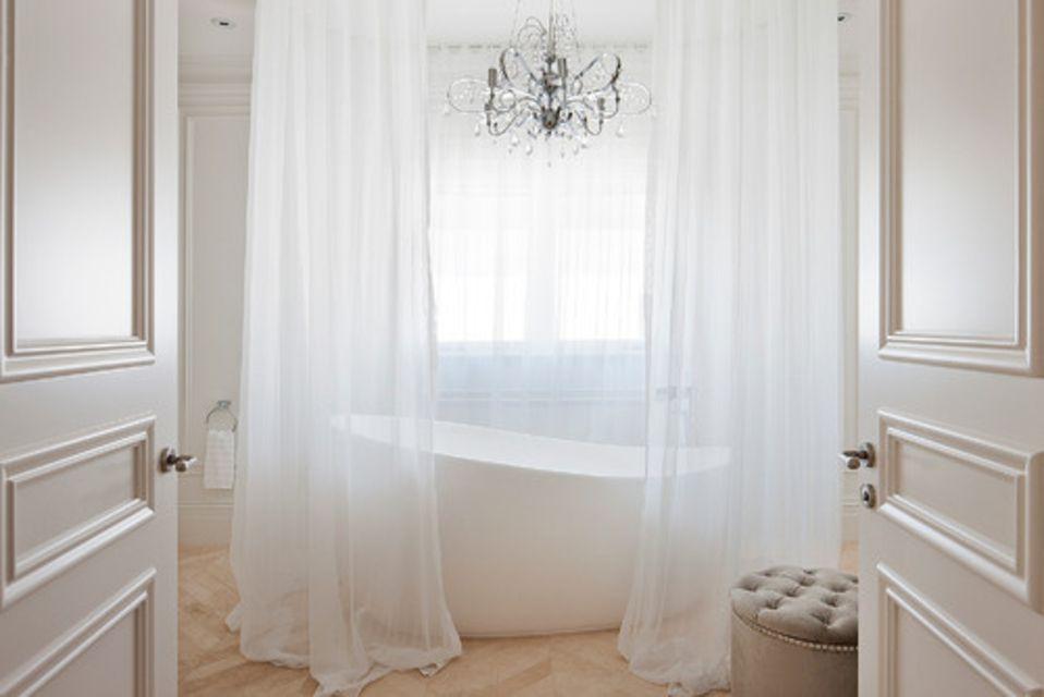 Dream French-Style Bathroom With Curtained Tubam bathroom