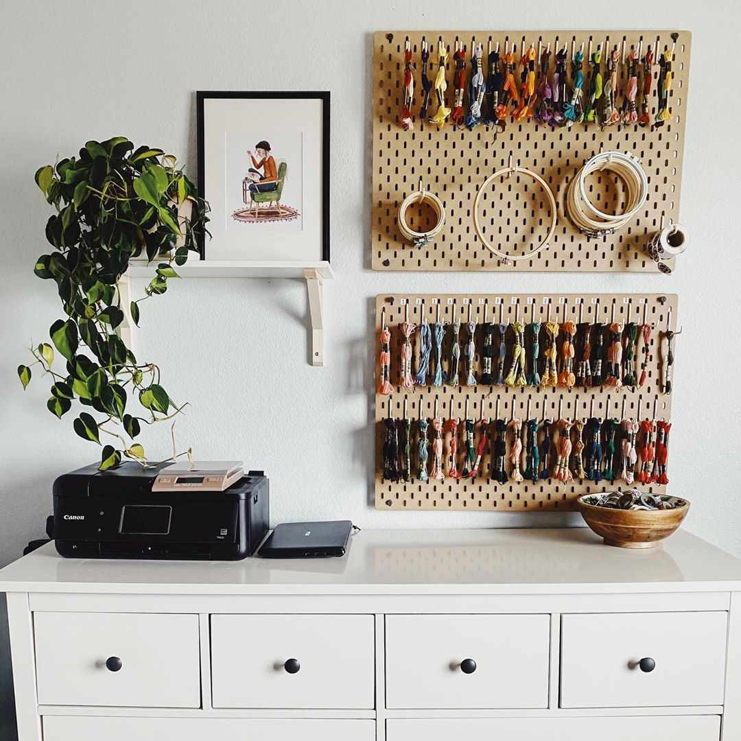 Pegboard with thread and hoops