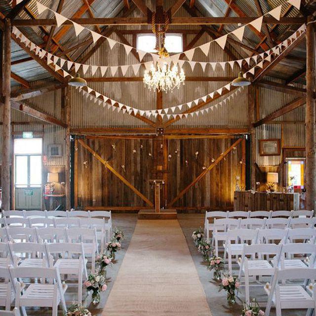 Barn Wedding With Flags