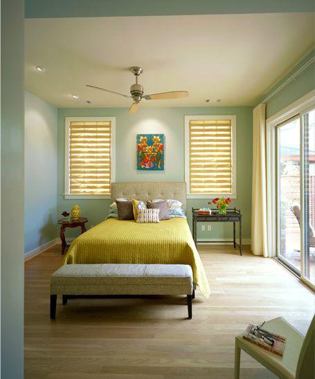 Light green contemporary bedroom