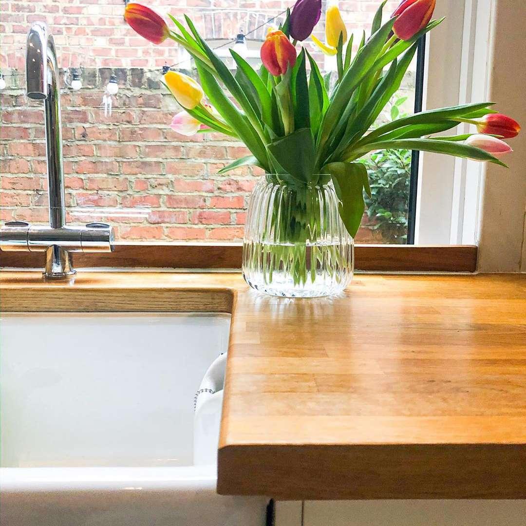 Fresh flowers on countertop