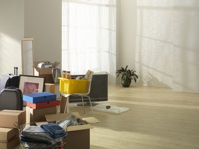 Empty apartment with moving boxes