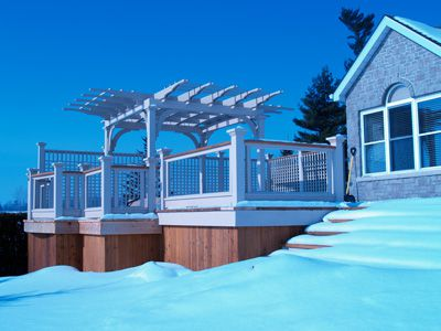Picture of deck with pergola.