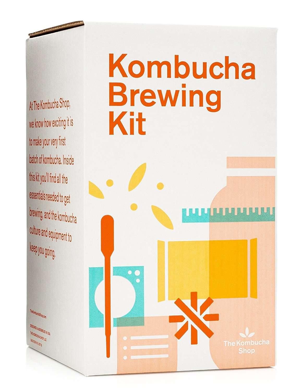 The Kombucha Shop Kombucha Brewing Kit with Organic Kombucha Scoby. Includes Glass Brew Jar, Organic Kombucha Loose Leaf Tea, Temperature Gauge, Organic Sugar and More!