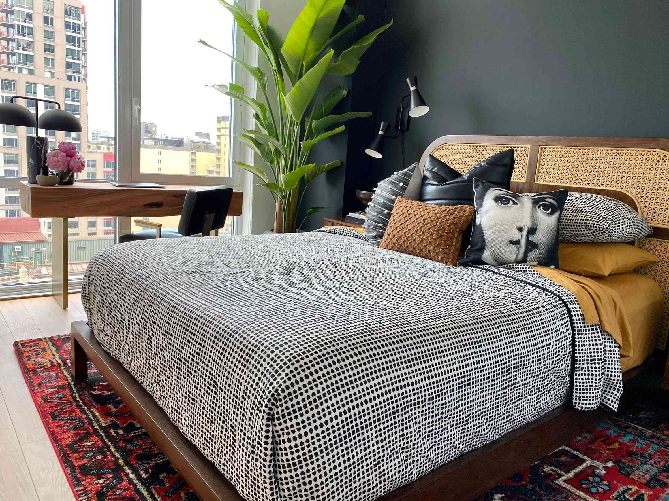 brown and black modern bedroom with large plant, various style pillows, eclectic rug