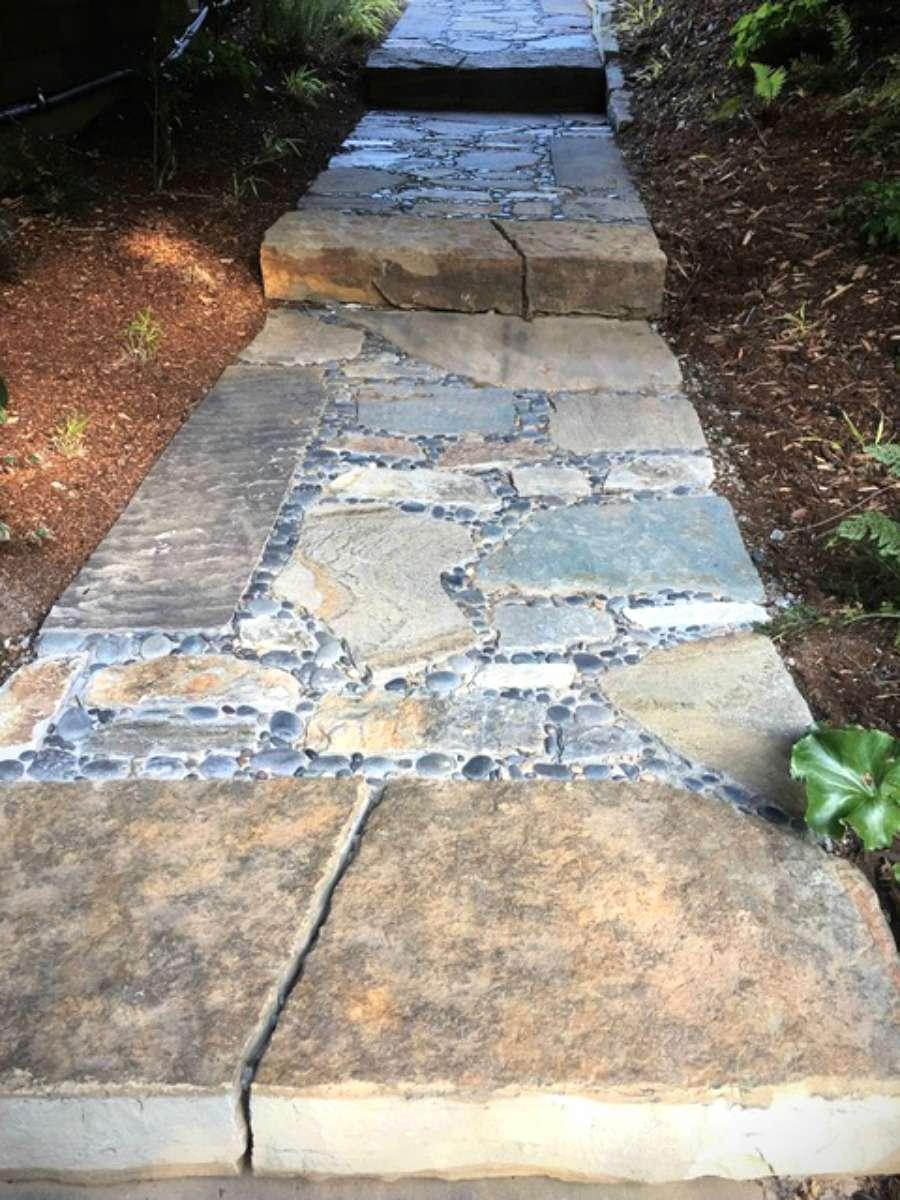pebble inlay walkway