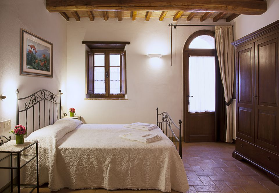 Interior shot of Tuscan bedroom