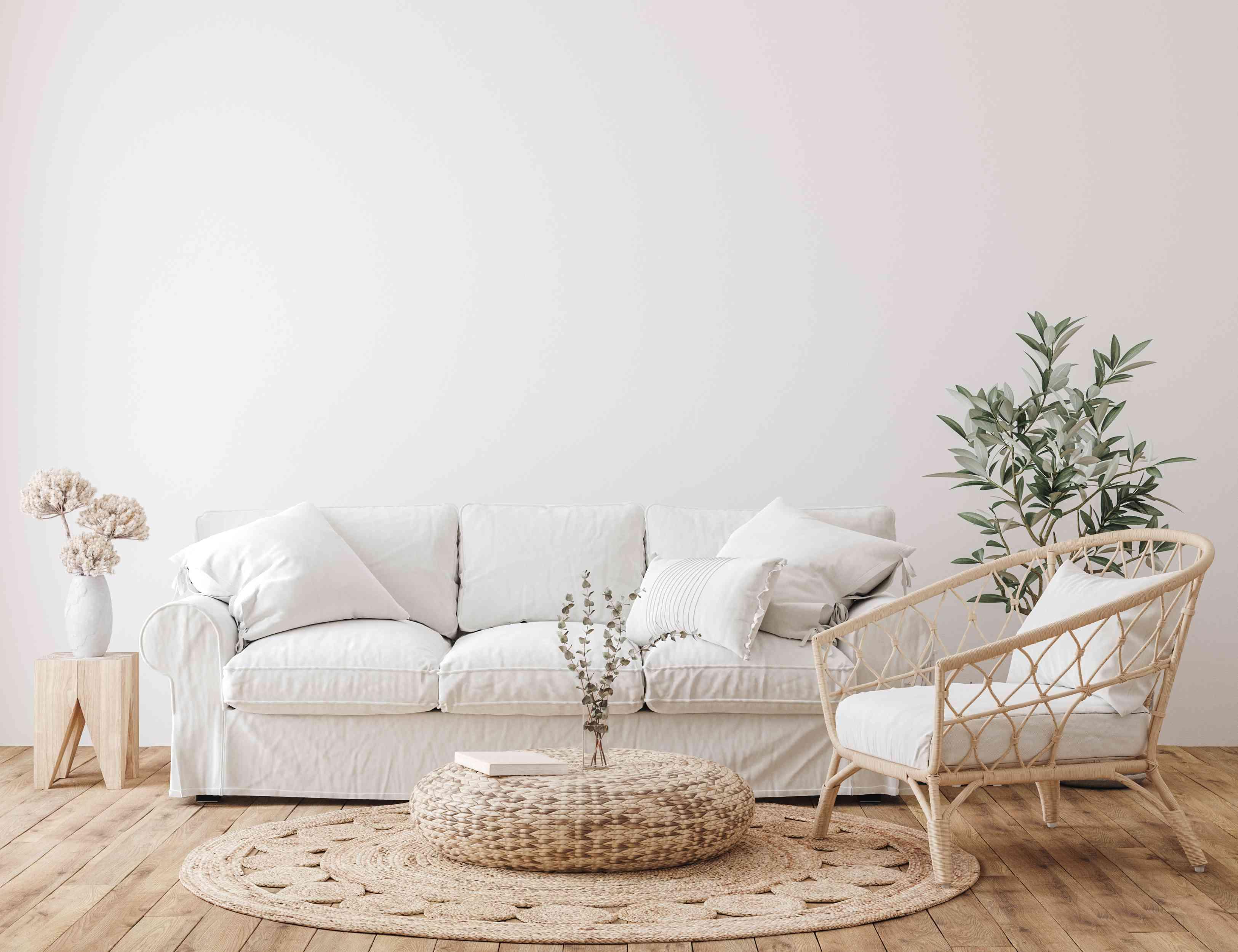 A white sofa in a farmhouse-style living room