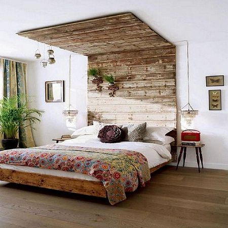 Use The Wood To Create A Fabulous Full Wall Headboard