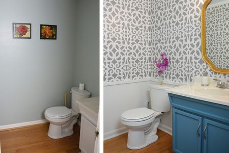 Stenciled Wall Small Bathroom