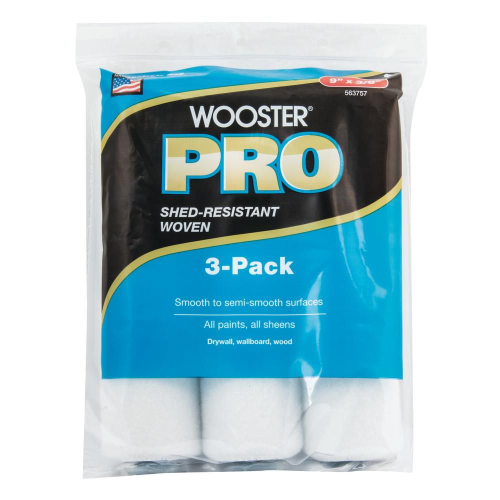 Wooster Pro 9 in. x 3/8 in. High Density Woven Roller Cover (3-Pack)