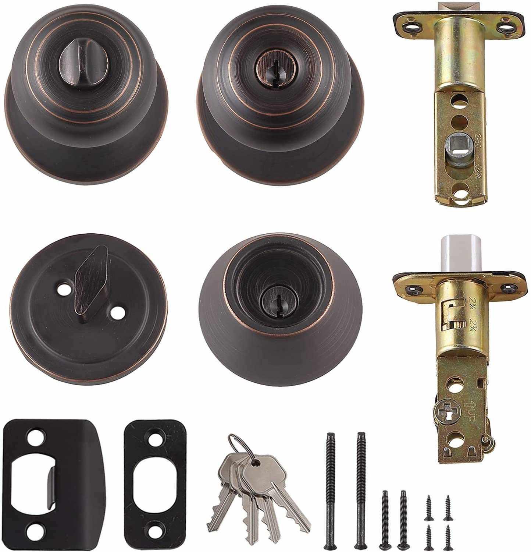 Amazon Basics Exterior Knob With Lock and Deadbolt